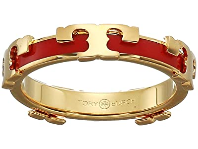 Tory Burch Kira Stackable Enamel Ring (Tory Gold/Poppy Red) Ring