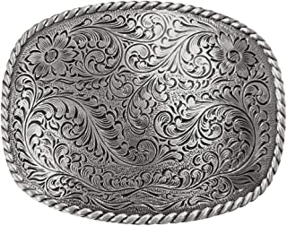 Antique Silver Floral with Rope Edge Western Belt Buckle