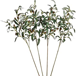 SHACOS Artificial Olive Branches with Fruits Set of 4 Fake Greenery Branches 28 inch Long Olive Stem Plant for Home Weddin...