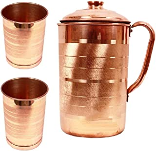 GODSON 100% Pure Copper Jug Pitcher for Storage Water & Serving Ware Good Health Benefits Indian Yoga (Copper Jug (1600ml)...