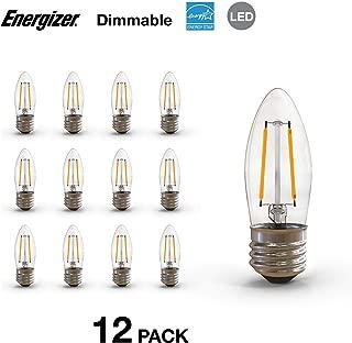 Energizer B10 40 Watt Equivalent Filament LED Light Bulb with E26 Base (Dimmable), 12-Pack, Soft White-E26