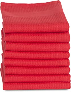 Maspar Oversized 100% Cotton Waffle Kitchen Dish towels, 18x27 inch, 8 Pack Set,Red, Superior quality, Highly Absorbent, Quick Dry, Chemical free, Machine Washable