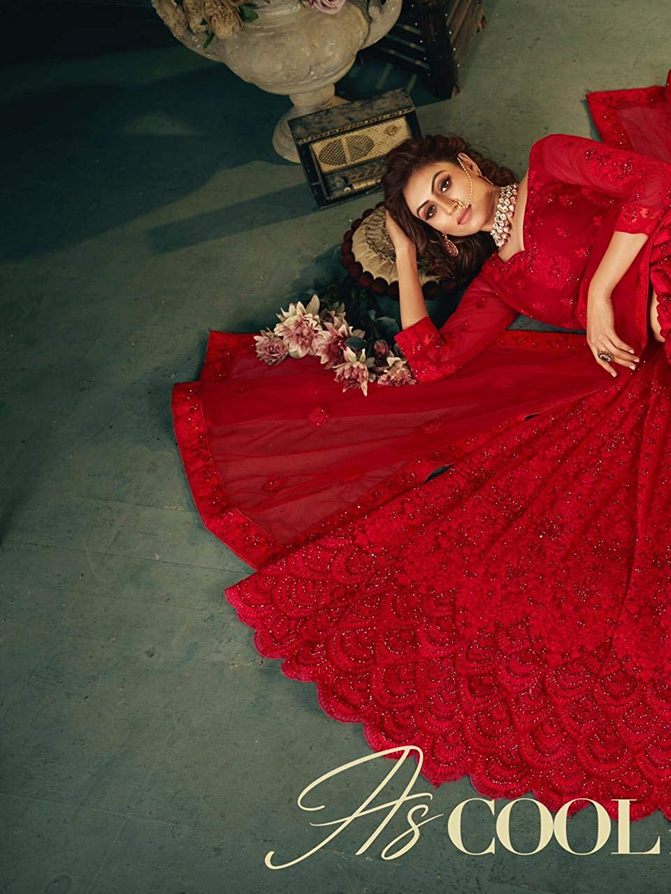ETHNIC EMPORIUM Designer Heavy net Embellished Indian Wedding Lehenga Choli Dupatta Ghagra Bridal Woman 5590