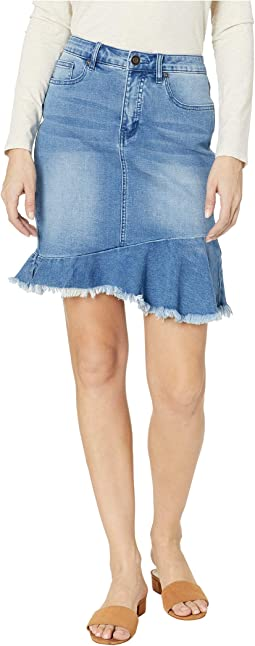 Soft Denim Jeans Skirt w/ Frayed Frilled Hem in Blue Bliss