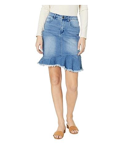 Tribal Soft Denim Jeans Skirt w/ Frayed Frilled Hem in Blue Bliss (Blue Bliss) Women