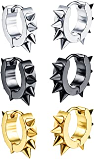 1-3 Pairs Stainless Steel Small Hoop Earrings For Men Women Silver Black Gold Color Punk Spikes Earrings