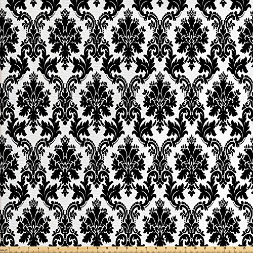 Ambesonne Damask Decor Fabric by The Yard, Vintage Damask Pattern Classic Victorian Interior Design Elements Floral Illustration, Decorative Fabric for Upholstery and Home Accents Black White