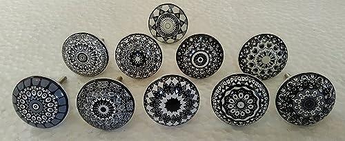 10 x Black Grey Gray Vintage Look Flower Ceramic Knobs Door Handle Cabinet Drawer Cupboard Black