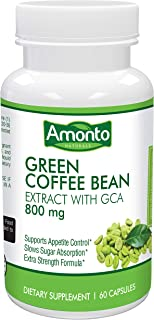 Green Coffee Bean Extract with GCA 60 Caps- Max Strength Natural Green Coffee Bean with 50% Green Coffee Antioxidant for Weight Loss   Maintains Normal Blood Sugar Levels