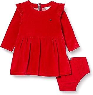 فستان مخملي للفتيات الصغار من تومي هيلفجر، احمر (ابل ريد 600)