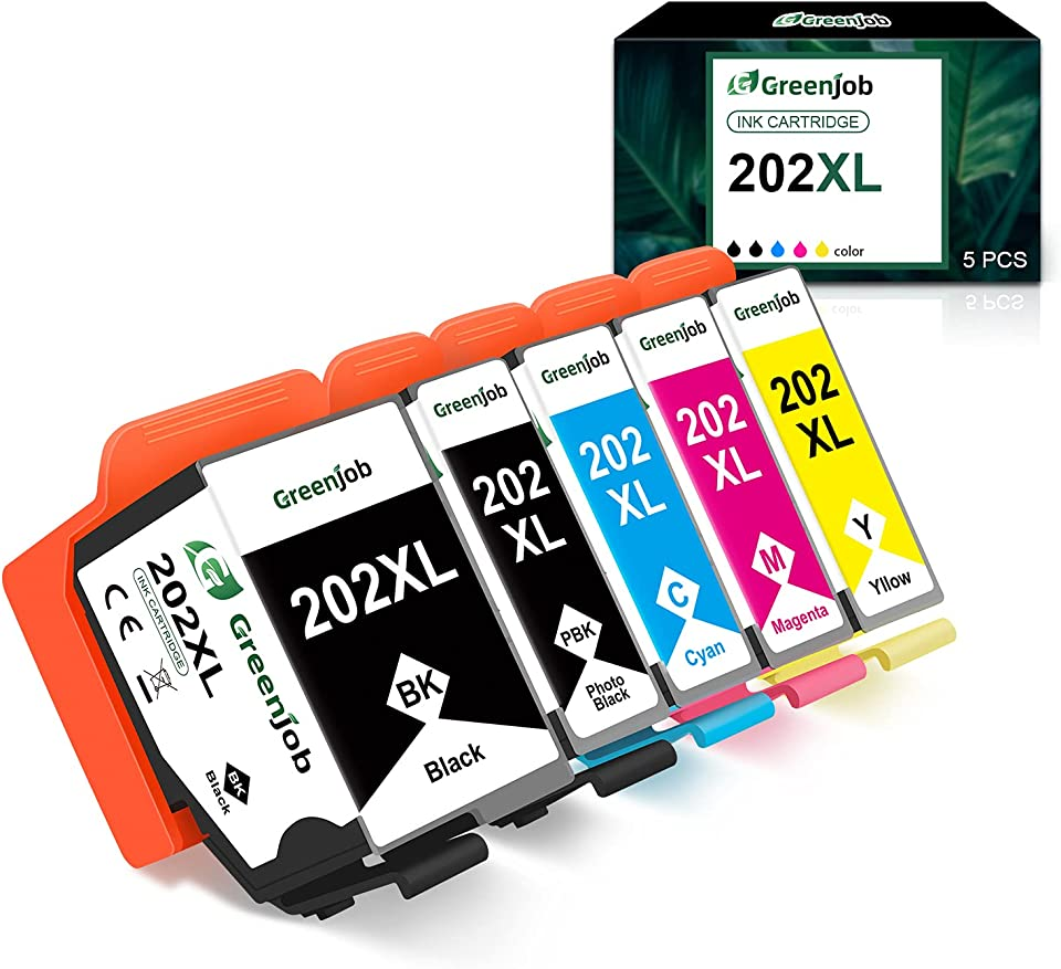 Greenjob 202XL Druckerpatronen Ersatz für Epson 202 XL Kompatibel mit Epson Expression Premium XP-6000 XP-6005 XP-6100 XP-6105 (1 Schwarz 1 Foto Schwarz 1 Cyan 1 Magenta 1 Gelb)