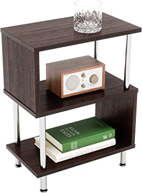 Bestier Side Table 3 Tier S-Shaped, Small Nightstand Bedside Table End Table with Storage Shelves for Bedroom, Sofa Table Cof