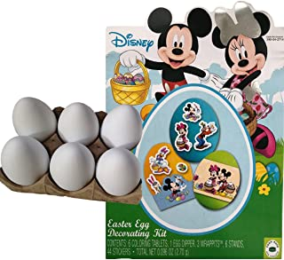Disney Mickey and Minnie Easter Egg Decorating Kit | 6 White Plastic Decorating DIY Dyeable Craft Eggs Bundle