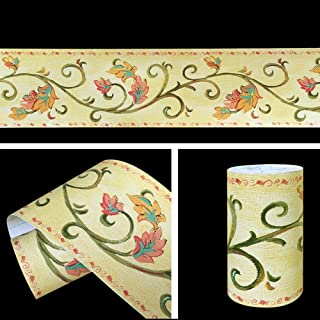 SimpleLife4U Leaf Vine Wallpaper Border Roll Self-adhesive Wall Borders Home Kitchen Bathroom Bedroom Decor