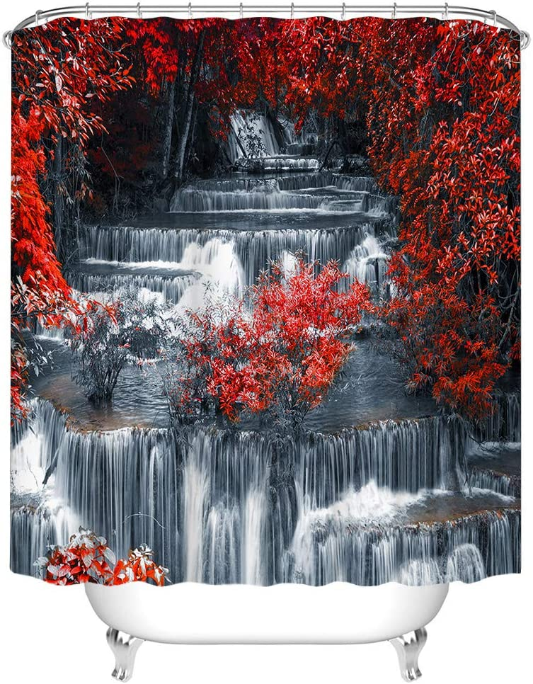 Kalormore Red Fall Waterfall Shower Nature for Curtain Bombing free shipping Bathroom Columbus Mall