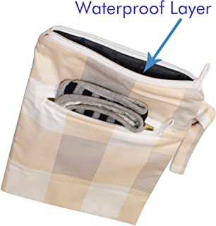 Kadambaby - Cloth Diaper Wet/Dry Bags |Waterproof Reusable with Two Zippered Pockets|Travel, Beach, Pool, Daycare, Soiled Baby Items,Bag for Swimsuits or Wet Clothes- White Checks