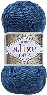 Hand Knitting Yarn 100% Microfiber Acrylic Yarn Alize Diva Silk Effect Thread Crochet Art Lace Craft Lot of 4 skeins 400gr 1532yds Color 646 Dark Turquoise