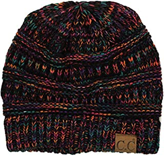 CC Womens Multicolor Warm Slouchy Cable Knit Beanie Skull Cap