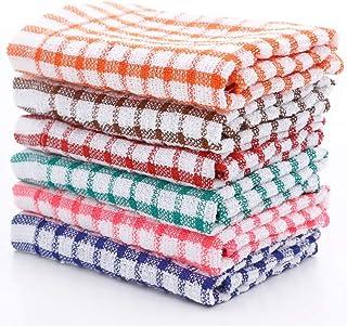 Torchons, Paquet de 6 linges à vaisselle 100% coton à carreaux Nettoyage de la vaisselle de cuisine Ultra doux, non peluch...