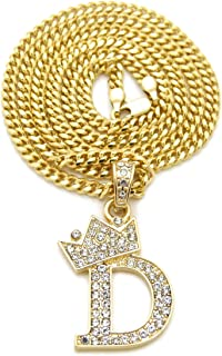 Fashion 21 Unisex Small Pave Crowned Initial Alphabet Letter Pendant 3mm 24 inches Cuban Chain Necklace in Gold Silver Tone