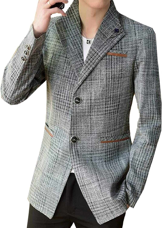 Men's Casual Two-Buttons Lightweight Slim Cotton Suit Blazers Jacket