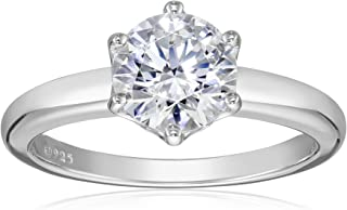 Platinum-Plated Sterling Silver Swarovski Zirconia 2cttw Round Solitaire Engagement Ring