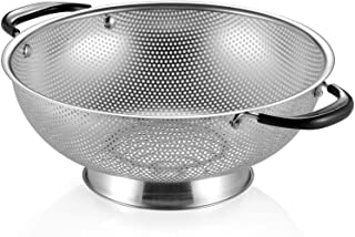 18/8 Stainless Steel Colander, Easy Grip Micro-Perforated 5-Quart Colander, Strainer with Riveted and Heat Resistant Handl...