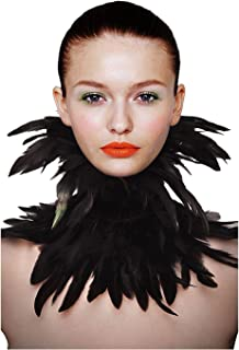 Gothic Victorian Natural Feather Choker Neck Wrap Collar for Halloween Cosplay