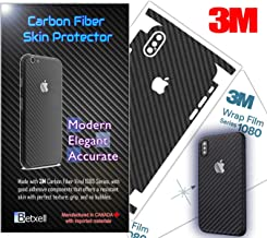 Carbon Fiber 3M 1080 Film iPhone Skin Protective wrap Around Edges Cover Black Skin for iPhone 7, 7 Plus, 8, 8 Plus, X, XR, Xs Max (iPhone 8 Plus)