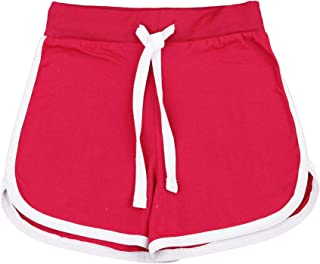 Kids Girls Shorts 100% Cotton Dance Gym Sports Pink Summer Hot Short Pant 5-13Yr