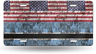 NMG-06 Botswana Half American Flag License Plate Car Accessories License Plate Tag for Car, Truck, RV, Trailer, 6 X 12 Inches