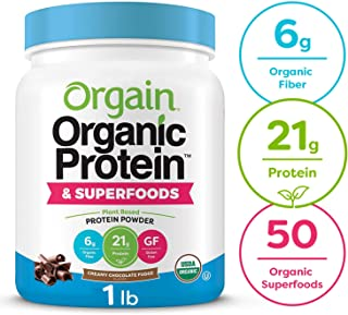 Orgain Organic Plant Based Protein + Superfoods Powder, Creamy Chocolate Fudge - Vegan, Non Dairy, Lactose Free, No Sugar Added, Gluten Free, Soy Free, Non-GMO, 1.12 lb