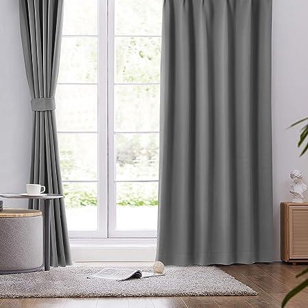 BEDELITE カーテン 遮光 1級 UVカット 2枚組 幅100cm丈200cm 厚手 防寒 断熱 保温 目隠し 洗える 防音カーテン グレー ベッドルーム 寝室 リビング用 かーてん