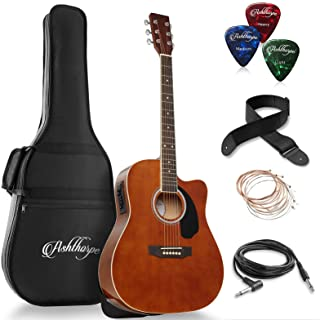 Ashthorpe Full-Size Dreadnought Cutaway Acoustic-Electric Guitar Bundle - Premium Tonewoods - Brown