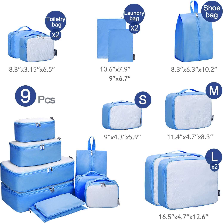 G4Free 6 pcs Packing Cubes Mesh Travel Luggage Bag Set Packing Organizer