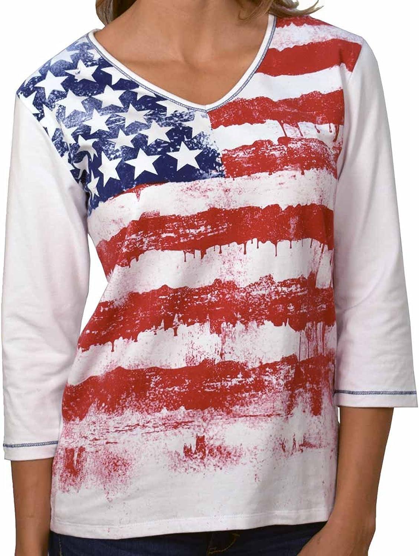 American Summer Ladies 3 4 Sleeve Printed Knit Shirt
