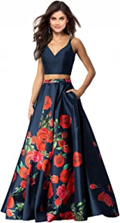 Womens 2 Piece Floral Printed Prom Dresses 2018 Long Formal Evening Ball Gowns with Pockets