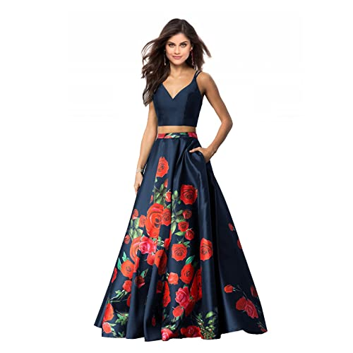 cf720c71a41a4 Lily Wedding Womens 2 Piece Floral Printed Prom Dresses 2019 Long Formal  Evening Ball Gowns with