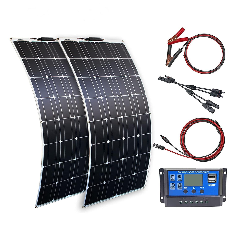 Kit de Panel Solar 200W 12V Panel Solar Flexible 100 Watt Sistema de Panel Solar mono+20A Controlador de Carga Solar+Cable Solar para batería de 12v Camping o hogar al aire libre(200 Vatios)