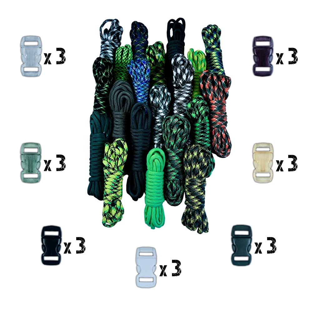 Craft County 550lb Type III Paracord Combo Crafting Kits with Buckles