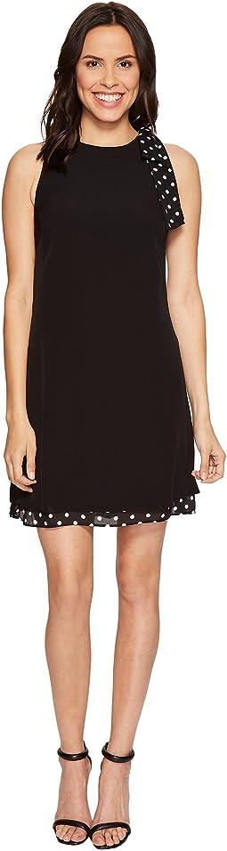 Shift Dress with Polka Dot Detail