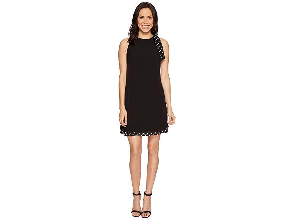 Tahari by ASL Shift Dress with Polka Dot Detail (Black/Ivory) Women