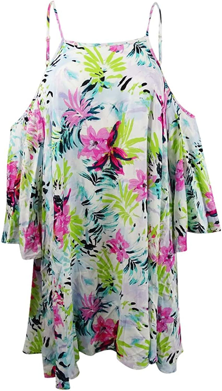 Bar III Tropical OffTheShoulder CoverUp Dress
