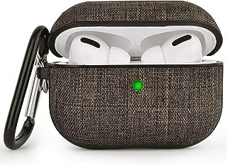 V-MORO AirPods Pro ケースカバー に対応 Apple Airpods Pro [前面LEDが見える] 2019更新バージョン キャンバス 素材 追加の保護 (ダークグレー)