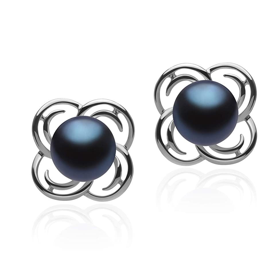 Bella Black 7-8mm AA Quality Freshwater 925 Sterling Silver Cultured Pearl Earring Pair For Women