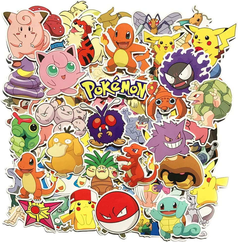 80 Unids Pokémon Paquete de Pegatinas, Pegatinas Únicas y Frescas para Niños Adolescentes Portátil Guitarra Patinetas de Viaje Pegatinas Impermeables