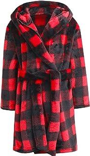 BAOPTEIL Boys/Girls Bathrobes Toddler Kids Hooded Robes Plush Soft Coral Fleece Pajamas,Flannel Sleepwear for Girls Boys