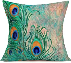 Asamour Peacock Blue Pillow Covers Home Decorative Oil Painting Teal Peacock Feather Throw Pillow Case 18''x18'' Cotton Linen Cushion Cover Sofa Outdoor Decor for Men Women (Peacock Feather)