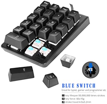 Number Pad, ROTTAY Mechanical USB Wired Numeric Keypad with Blue LED Backlit 22-Key Numpad for Laptop Desktop Compute...