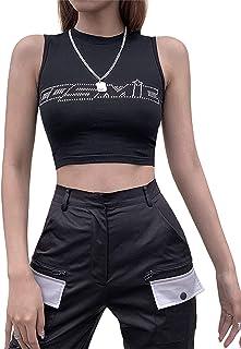 DELIMALI Women Sexy Summer Crop Tops/Vest Letter Rhinestone Pattern Base Shirt
